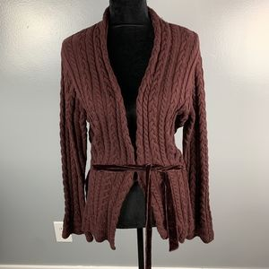 tsd two star dog Brown Cardigan with Lace Tie